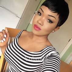 51.80$  Buy now - http://alid5e.worldwells.pw/go.php?t=32791531607 - 2017 New Short Pixie Cut Human Natural Hair Wig Rihanna Full Lace Front Bob Wigs For Black Women Celebrity Wigs Hot Sale