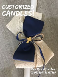 Custom Candles, Diy Candles, Baptism Candle, Baptism Decorations, Baby Boy Baptism, Palm Sunday, Baby Decor, Spring Crafts, Palms