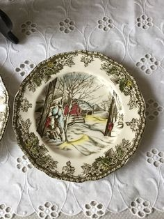 Bread and Butter Plates Ironstone Set of 4 Johnson Bros Sugar Maples The Friendly Village England by VintageSouthernPicks