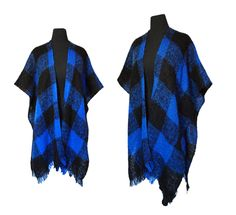 Vintage 1970s Cape - Mohair Wool Blue Black Shawl Poncho Sweater - One Size. $42.00, via Etsy.