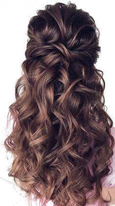 Wedding Hair Half, Long Hair Wedding Styles, Wedding Hairstyles For Long Hair, Wedding Hair And Makeup, Bride Hairstyles, Down Hairstyles, Hairstyle Wedding, Half Up Hairstyles Easy, Glamorous Hairstyles