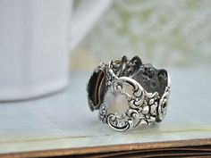 """""""BUTTERFLY IN MOTION"""" Neo Victorian #vintage style by 'junes night'--Sworvski crystals, unique soldered antique silver, a dream come true statement ring #jewelry creations beyond your day dreams on #Etsy #EtsyFinds #EtsyShop features!"""