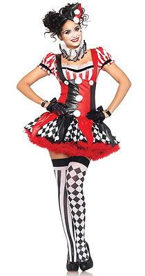 New-Cute-Ladies-JESTER-Clown-Circus-Fancy-Dress-HARLEQUIN-Halloween-Costume
