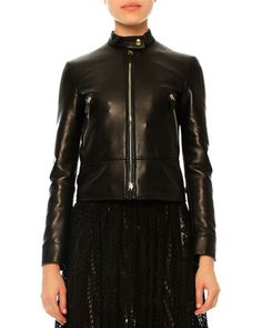 Leather Jacket W/Embroidered Dragon, Black by Valentino at Neiman Marcus. $6290