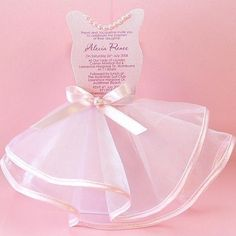 Ballerina Party Invitation: Cardstock, tulle, ribbon, & pearls, / www.lepetitparty.com.au