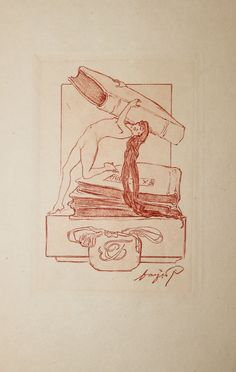 Ex Libris  Franz von Bayroz.  Eau-forte originale signée dans le cuivre. Vers 1910