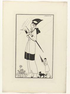 Anonymous | Journal des Dames et des Modes, Costumes Parisiens, 1914, No. 156, Anonymous, 1914 | Vrouw in een mantelpak van ratiné en zwart fluweel. Vest van rode tafzijde. Het begint te regenen; op de achtergrond is een man bezig zijn paraplu te openen. Proefdruk van een prent uit het modetijdschrift Journal des Dames et des Modes (1912-1914). (Avant la lettre)