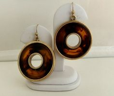 Chico's Faux Tortoise Shell Hoop Earrings by ediesbest on Etsy, $12.95