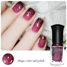 1 Bottle 6ml Thermal Nail Polish Color Changing Varnish Peel Off Varnish with Sequins