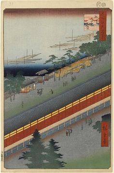 <名所江戸百景 深川三十三間堂 :  FUKAGAWA SANJUSAN GENDO>  HALL OF THIRTY THREE BAYS AT FUKAGAWA  HIROSHIGE UTAGAWA  1797-1858  Last of Edo Period  69