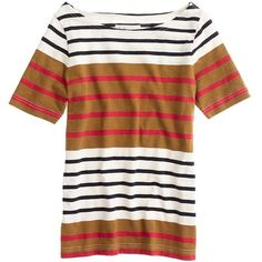 Madewell MADEWELL Merci Stripe Tee (200 PLN) ❤ liked on Polyvore featuring tops, t-shirts, lily collins, stripes, colorblock tee, madewell tee, striped t shirt, color block tee and madewell t shirts