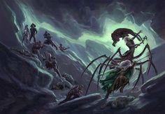 Drow lucha contra drider, de Todd Lockwood