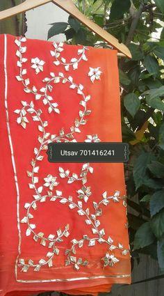 Saree # Chiffon # Gota work # Shaded # whatsapp 7014162141 Hand Embroidery Patterns Flowers, Hand Embroidery Videos, Crewel Embroidery, Embroidery Designs, Gota Patti Saree, Rajasthani Dress, Indian Wedding Fashion, Rajputi Dress, Baby Shower Dresses