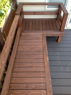 11 Super Cool DIY Backyard Furniture Projects • Lots of Ideas and Tutorials! Including, from 'imgur', this wonderful diy deck bench.: