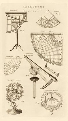 Antique Scientific Illustration (copper engraving) of Astronomical Instruments and Diagrams. Etiquette Vintage, Instruments, Space And Astronomy, Astronomy Facts, Astronomy Pictures, Hubble Space, Space Telescope, Space Shuttle, E Mc2