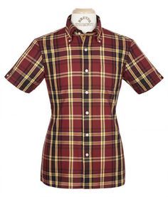 The highly anticipated Brutus for Dr. Martens Trimfit Shirt Mk 3 comes in a classic Brutus tartan check design, but made in the famous oxblood and yellow colours that are synonymous with the Dr. Martens boot, and finished with a contrasting handkerchief tucked into the top pocket.  The shirt is Strictly Limited Edition.