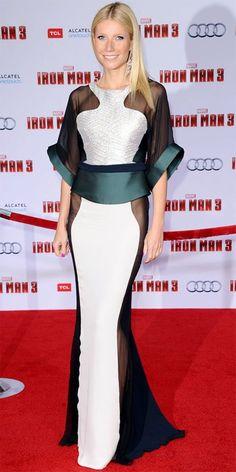 Ela deixou a armadura de ferro em casa e deslumbrou no tapete vermelho na estreia de Iron Man 3. Gwyneth Paltrow num vestido Antonio Berardi. ♥