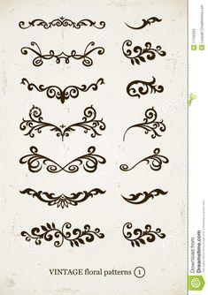 decorative patterns | Set of vintage decorative patterns on grunge backgound. illustration.