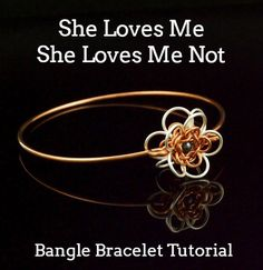 This Bangle Bracelet tutorial combines an fun chainmaille Flower that I call, She Loves Me, She Loves Me Not with a stylish bangle base. The finished focal measures 1 inch.  This tutorial includes 6 pages, 25 photos, of full color pictures with clear written instructions that will guide you though creating a cupped chainmaille flower. It is also full of tips and tricks to make your creation go smoothly from start to finish. You will be able to quickly and easily see the best and fastest way…