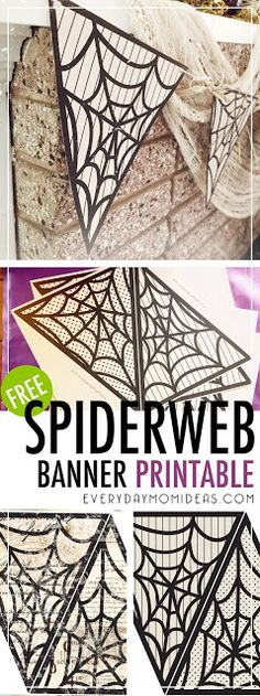 Halloween Spiderweb Banner Printable, two styles to choose from. Vintage and Modern
