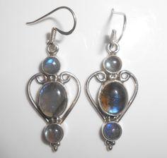 Labradorite Sterling Earrings Pierced Dangle by Libbysmomsvintage