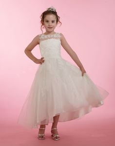Couture-Designer Girls Dress Style 1998 - Lace Dress with Illusion Neckline in Choice of Color Bridal Gowns, Wedding Gowns, Girls Designer Dresses, Wedding Dressses, White Flower Girl Dresses, Illusion Neckline, Princess Style, Quinceanera Dresses, Couture Dresses