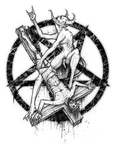 This is an evil depiction of the Morning Star reversed with two Satanic Symbols, the reversed star and the Cross