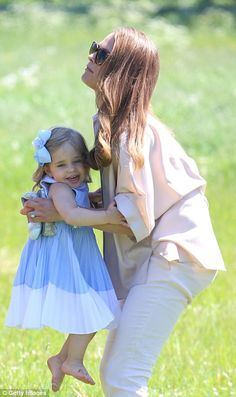 Princess Leonore of Sweden, two, gave her parents the run around as they visited stables in Gotland today for the first meeting with Haidi, the horse she was given for her christening.