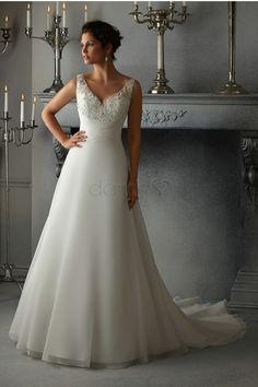Organza A Linie Satin Spitze V-Ausschnitt aufgeblähtes volle länge Brautkleider