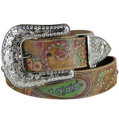 Paisley Belt with Crystal Rhinestones- Brown