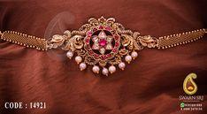 Antique armlet or bajuband, Floral peacock bajuband designs, Swarnsri Gold & Diamonds, Vijayawada. Kids Gold Jewellery, Gold Jewellery Design, Gold Jewelry, Jewelery, Latest Jewellery, Bridal Jewellery, Handmade Jewellery, Pearl Jewelry, Wedding Jewelry