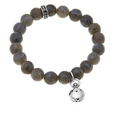 King Baby Jewelry King Baby Sterling Silver Crowned Heart Charm Gemstone Bead Stretch Bracelet - Gray/Grey