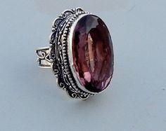 Oval Shape Cut Purple Amethyst Quartz Gemstone 925 silver Ring Size 10