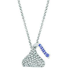 @Overstock - Crafted of silvertone base metal, this necklace features a 'Hershey's Kiss' design complete with shimmering crystals. A highly polished finish perfects the look of this beautiful necklace.http://www.overstock.com/Jewelry-Watches/Base-Metal-Hersheys-Kiss-Necklace/5606773/product.html?CID=214117 $38.49