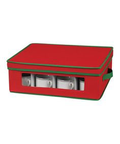 Take a look at this Household Red & Green Cup Storage Chest by Household Essentials on #zulily today!