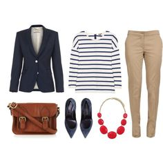 business woman swag, blue and white stripe with touch of red. may want other pants than skinny