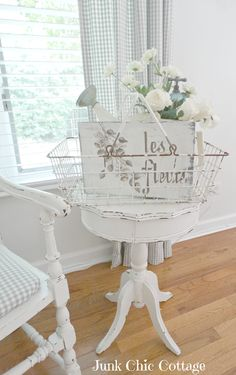 Junk Chic Cottage: Re Love of New Treasures Junk Chic Cottage, Cottage Ideas, White Cottage, Shades Of White, Yard Sale, Tiny Homes, Bird Houses, Campers, House Plants