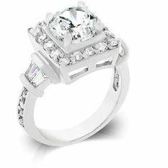 ENGAGEMENT RING - Luxurious White Gold Rhodium Bonded Classic Ring with Prong Set Round Cut Clear CZ Centered and Bar Set Baguettes in Silvertone HopeChestJewelry. $28.49