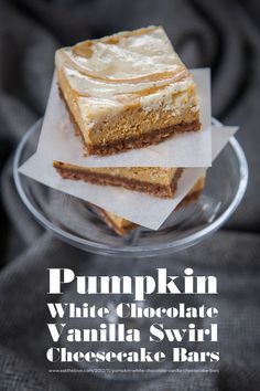 Pumpkin White Chocolate Vanilla Swirl Cheesecake Bars #Recipe by Irvin Lin of Eat the Love