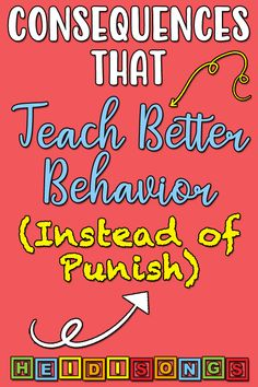 Consequences That Teach Better Behavior (Instead of Punish) - HeidiSongs I think this might be really good tips for working with Keagan. Classroom Behavior Management, Kids Behavior, Behavior Consequences, Kindergarten Behavior, Behavior Plans, Classroom Behaviour, Discipline In The Classroom, Classroom Contract, Kindergarten Blogs