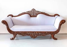 Anglo-Indian Walnut Carved Sofa l The Past Perfect Collection l Singapore Colonial Furniture, Wooden Furniture, Antique Furniture, Indian Bedroom Decor, Wooden Sofa Set Designs, Traditional Sofa, Traditional Interior, Drawing Room Interior, Bedroom Wall Designs