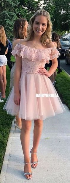 Apr 2020 - Charming Off Shoulder Lace Top A-line Tulle Homecoming Dress, Pretty Homecoming Dresses, Prom Dresses, Trendy Dresses, Wedding Dresses, Corsage, Chic Fall Fashion, Costume, Spring Dresses, Dress Backs