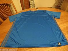 Men's ADIDAS active performance shirt 2XL XXL climalite prime blue lead NEW NWT