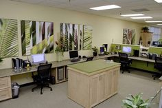 """Corporate/Office Mural Customer Photos   Murals Your Way ( MP - like the idea of tables where we could change the size of """"desks"""")"""