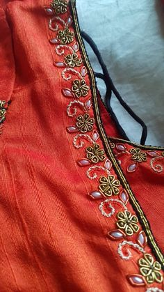 Ping me 9895473878 Pattu Saree Blouse Designs, Blouse Designs Silk, Designer Blouse Patterns, Dress Neck Designs, Bridal Blouse Designs, Embroidery Neck Designs, Embroidery Suits Design, Embroidery Fashion, Kids Blouse Designs