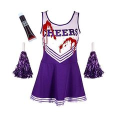 FANCY DRESS COSTUME SPORTS HIGH SCHOOL MUSICAL HALLOWEEN OUTFIT 6... ($21) ❤ liked on Polyvore featuring costumes, women's sports halloween costumes, purple cheerleader costume, sport halloween costumes, fancy halloween costumes and women's cheerleader costume