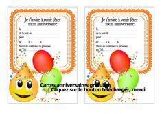 Invitation anniversaire Ballons et smiley - 123 cartes
