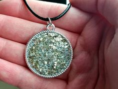 Silver Gold Faux Druzy Necklace! So glittery!