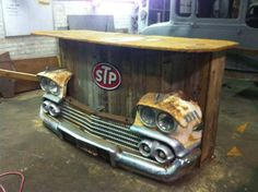 Re-purposed car front end. Very cool! Think I'll make one for the patio!