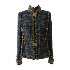Chanel 2011 Byzantine Runway Blue Jacket $11K+ | From a collection of rare vintage jackets at https://www.1stdibs.com/fashion/clothing/jackets/